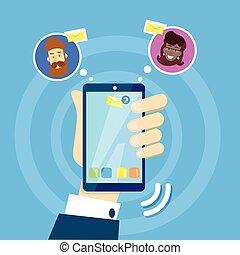 smartphone, rete, comunicazione affari, sms, mano, cellula,...