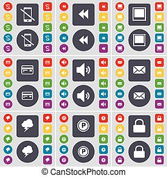 Smartphone, Rewind, Window, Credit card, Sound, Message, Cloud, Parking, Lock icon symbol. A large set of flat, colored buttons for your design. Vector