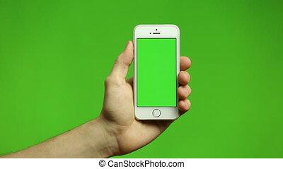 smartphone, robinet, pincement, écran, swipe, main, gestes