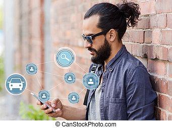 smartphone, rozdělající, vůz, app, ulice, pouití, voják