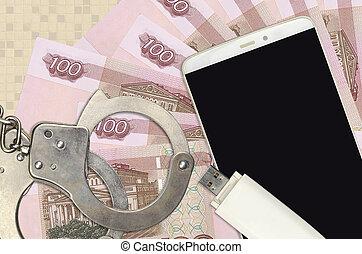 smartphone, ruso, 100, ilegal, phishing, scam, ataques, suave, rubles, distribución, hackers, malware, concepto, cuentas, o, policía, handcuffs.