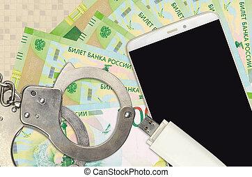 smartphone, ruso, ilegal, phishing, scam, ataques, suave, rubles, distribución, hackers, malware, concepto, cuentas, policía, o, 200, handcuffs.