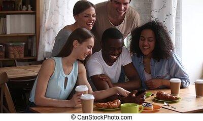 smartphone, séance, divers, appeler, utilisation, vidéo, cafétéria, amis, confection
