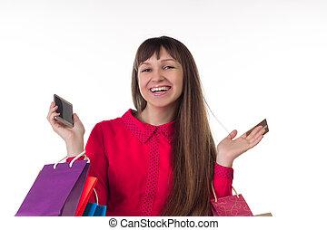 smartphone, sacs provisions, carte, banque, crédit, papier, girl, coloré