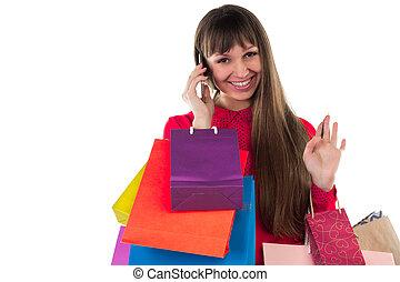 smartphone, sacs provisions, carte, crédit, papier, pourparlers, girl