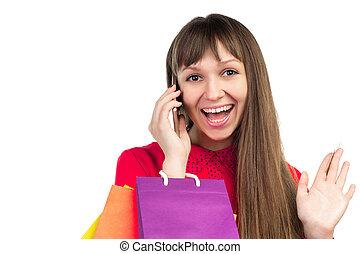 smartphone, sacs provisions, coloré, carte, banque, crédit, papier, girl