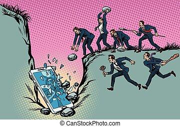 smartphone., salvajes, censorship., mate, hombres de negocios, política