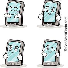 smartphone, satz, zeichen, karikatur, sammlung