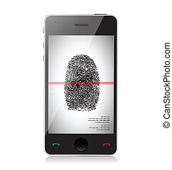 smartphone scanning a finger print illustration design over white