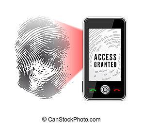 Smartphone scanning a fingerprint.