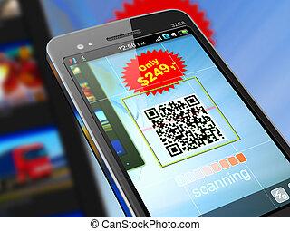 Smartphone scanning QR code - Macro view of smartphone...