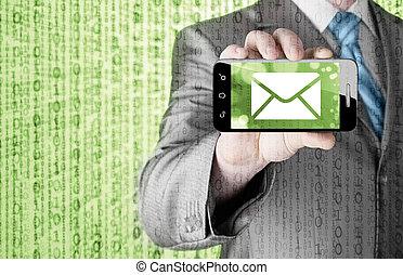 smartphone, schermo, uno, presa a terra, nuovo, messaggio, uomo