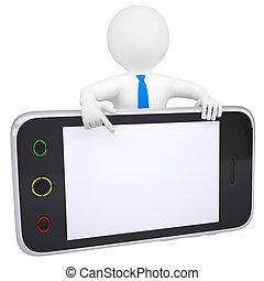 smartphone, schirm, punkte, finger, mann, 3d