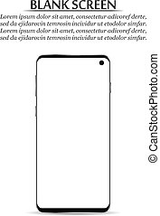 smartphone, screen., イラスト, ベクトル, ブランク, 新しい