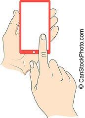 smartphone, screen., main, toucher, vide, blanc
