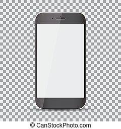 smartphone, screen., réaliste, arrière-plan noir, vide, transparent