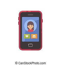 Smartphone screen with a social app interface and a girl avatar flat icon. Dating app flat illustration
