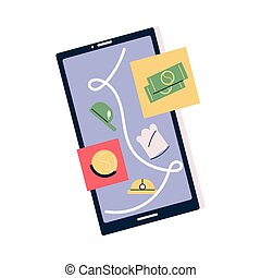 Smartphone screen with refusal companies answers in application for vacancy applicant over white background vector illustration. Difficulties in finding job concept