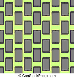 Smartphone seamless pattern at the green background