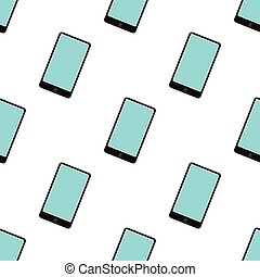Smartphone seamless pattern in flat style isolated on white background vector illustration