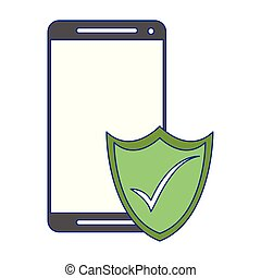 Smartphone security symbol technology blue lines