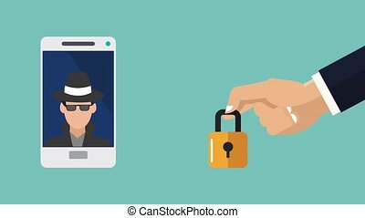 Smartphone security system HD animation - Hand putting...