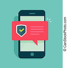 Smartphone security vector illustration, flat style mobile phone with protected shield checkmark