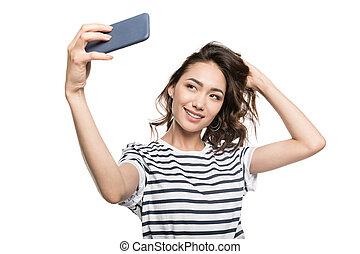 smartphone, selfie, isolado, mulher, levando, elegante, branca, sorrindo