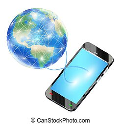 smartphone send data to internet around the world
