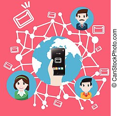 Smartphone send email the world marketing
