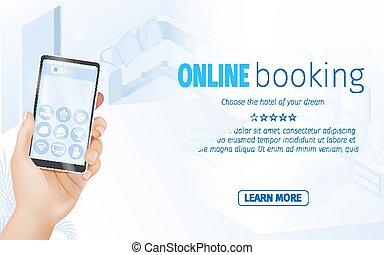 smartphone, service, écran, hôtel, main, prise