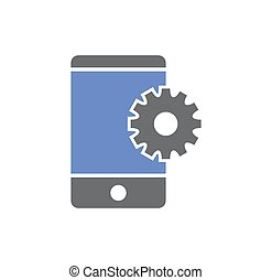 Smartphone service related icon on background for graphic and web design. Simple illustration. Internet concept symbol for website button or mobile app.