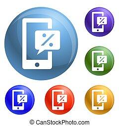 smartphone, set, procent, tabel, iconen