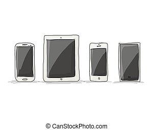 Smartphone set, sketch for your design