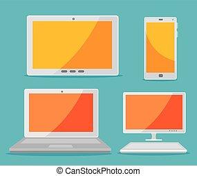 smartphone, set, tablet, laptop computer, technologie