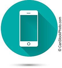 smartphone, sfondo verde, bianco, uggia, icona