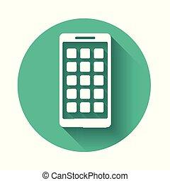 smartphone, shadow., mobile, apps, esposizione, bianco, icone, button., lungo, isolato, telefono, vettore, applications., illustrazione, screen., verde, cerchio, schermo, icona