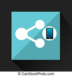 smartphone share social network media icon vector...