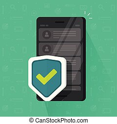 Smartphone shield vector illustration, flat cartoon of mobile phone with security protection, concept of cellphone protect, internet safety tech, antivirus system, guard software icon