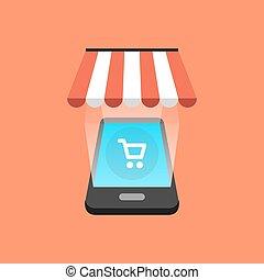 Smartphone shopping concept. Isometric design. Vector illustration