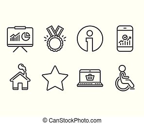 smartphone, shopping, estrela, icons., incapacitado, apresentação, estatísticas, online, honra, signs.