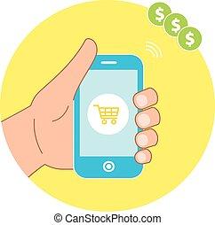 smartphone, shopping, icons., mano, e-commercio, concetto, presa a terra, linea, cesto