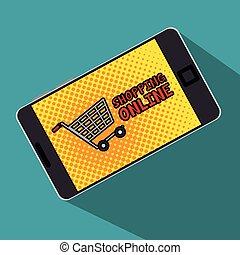 smartphone, shopping, schermo, polka, carrello, linea, puntino