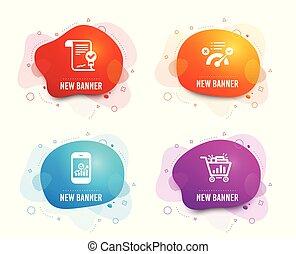 smartphone, shopping, sinal., acordo, icons., correto, resposta, vetorial, seo, estatísticas, aprovado