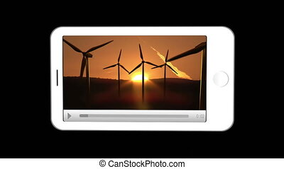 Smartphone showing renewable energies against a black...