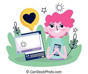 smartphone, sieć, człowiek, media, internet, video, towarzyski, młody