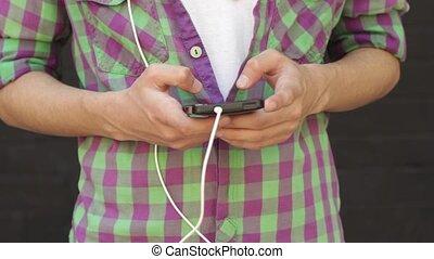 smartphone, sien, musique, recherche, homme