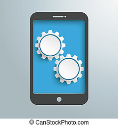 Smartphone Silver Background Gears