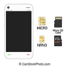 smartphone, sim, kaart, sd
