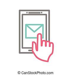 smartphone, simbolo, screen., mano, telefono, toccante, usando, email, far male